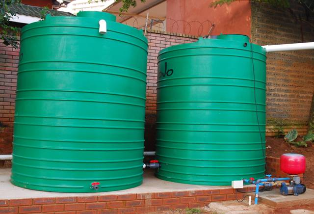 A KZN household with 10000l storage tanks and pumps