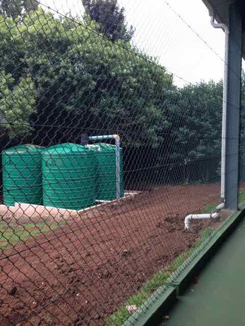 Rainwater harvesting system for indoor tennis court