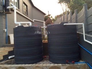 Two 5000l rainwater tanks installed with a WISY WFF150