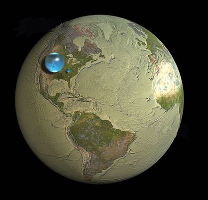 Global volume of fresh water